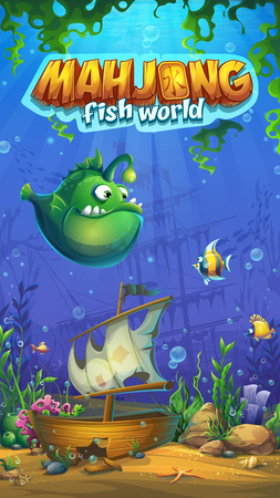 Mahjong fish world - vector illustration mobile format playing field to the computer game. Bright background image to create original video or web games, graphic design, screen savers. Иллюстрация