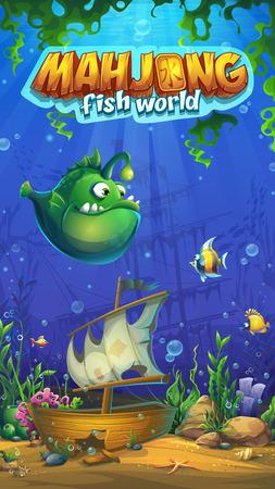 Mahjong fish world mobile format main screen Illustration