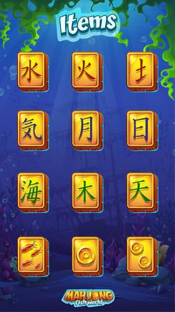 Mahjong item set fire, water, earth, air, moon, sun, sea, tree, sky