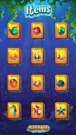 Mahjong fish world mobile format item set Illustration