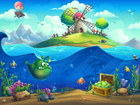Undersea world with mill on island. Marine life landscape - the ocean and the underwater world with different inhabitants. For design websites and mobile phones, printing.