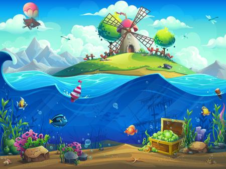 Podwodny świat z balonem na wyspie. Krajobraz życia morskiego - ocean i podwodny świat z różnymi mieszkańcami. Do projektowania stron internetowych i telefonów komórkowych, drukowania.