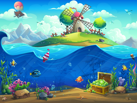 Undersea world with baloon on island. Marine life landscape - the ocean and the underwater world with different inhabitants. For design websites and mobile phones, printing.