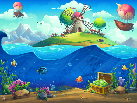 Undersea world with airship on island. Marine life landscape - the ocean and the underwater world with different inhabitants. For design websites and mobile phones, printing. Illustration