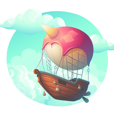 Vector illustration air ship in the clouds. Bright background image to create original video or web games, graphic design, screen savers.