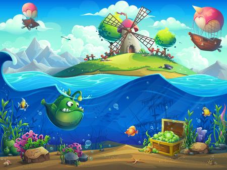 Paisaje de vida marina: el océano y el mundo submarino con diferentes habitantes. Para el diseño de sitios web y teléfonos móviles, impresión.