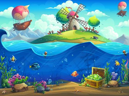 Mundo submarino con molinillo en la isla. Paisaje de vida marina: el océano y el mundo submarino con diferentes habitantes. Para el diseño de sitios web y teléfonos móviles, impresión. Ilustración de vector