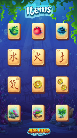 Mahjong fish world - vector illustration mobile format item set fire, water, earth, air and other. Bright image to create original video or web games, graphic design, screen savers.