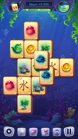 Mahjong fish world - vector illustration mobile format playing field Ilustrace