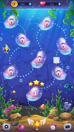 Świat ryb Mahjong - mapa poziomów na tle podwodnego świata. Jasny obraz do tworzenia oryginalnych gier wideo lub internetowych, projektów graficznych, wygaszaczy ekranu. Ilustracje wektorowe