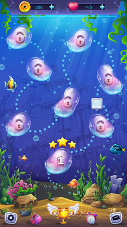 Mahjong fish world - level map on the background of the underwater world. Bright image to create original video or web games, graphic design, screen savers.