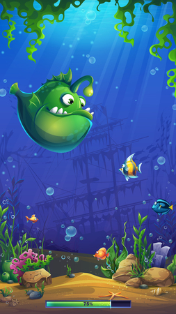 Mahjong fish world - loading screen on the background of the underwater world. Bright background image to create original video or web games, graphic design, screen savers.