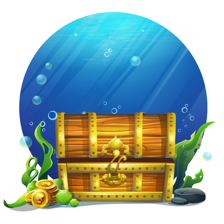 Vector illustration closed wooden old magic chest. Bright image to create original video or web games, graphic design, screen savers. Çizim