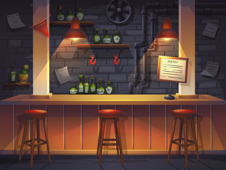 Vector cartoon illustration of saloon. Background image for video web game user interface Vettoriali