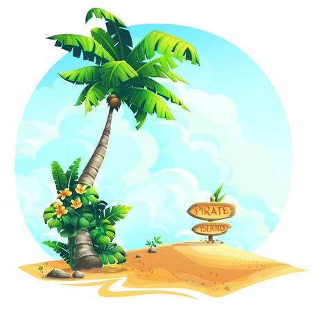 Vector background illustration palm tree with wooden sign on sand. Bright image to create original video or web games, graphic design, screen savers.