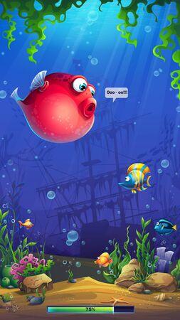 Vektorillustrations-Ladebildschirm mit lustigen roten Fischen Vektorgrafik