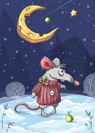 Vector illustration of funny mouse under the moon