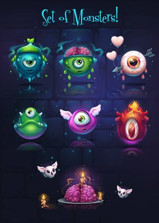 Vector cartoon background illustration set of monsters