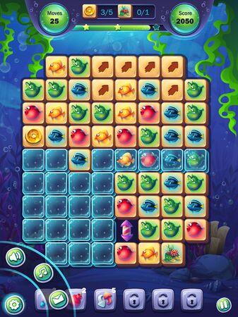 Fischwelt-Spielfeld-Vektor-Illustrationsbildschirm für Tablets