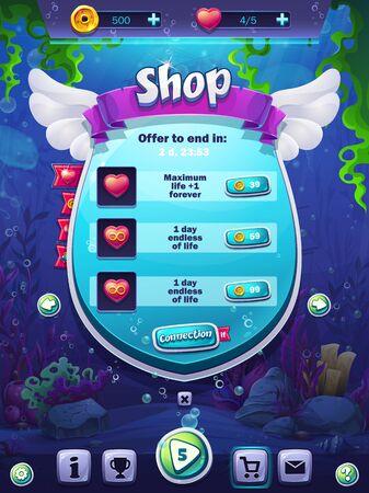 Fischwelt-Shop-Bildschirmvektorillustration für Tablets