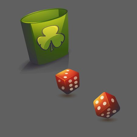Vector illustration red realistic game dice set