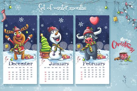 2021 Calendar December January February. Funny cartoon style set winter months. For print on demand,   keynote presentations, advertisements and commercials, magazines and newspapers, book covers. Ilustrace