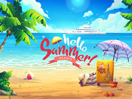 Hello summer vector beach and cruise liner