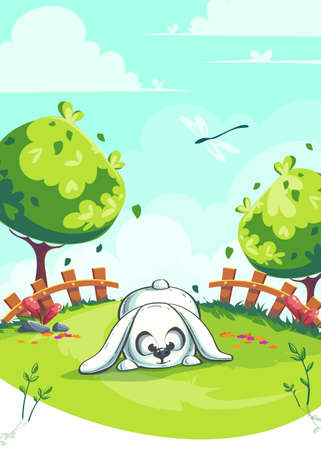 Vector illustration rabbit on the green background