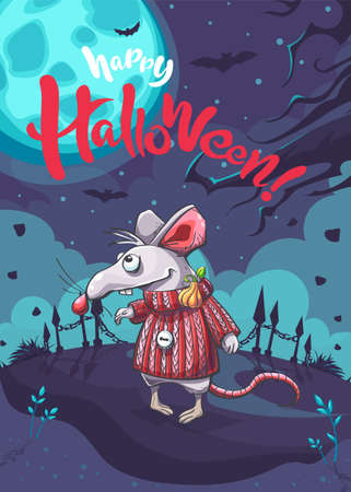 Happy Halloween image with the funny cartoon mouse