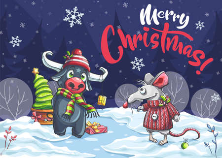 Merry Christmas cartoon mouse, bull in night