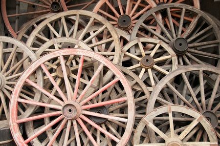 Large view of rustic antique wagon wheels photo