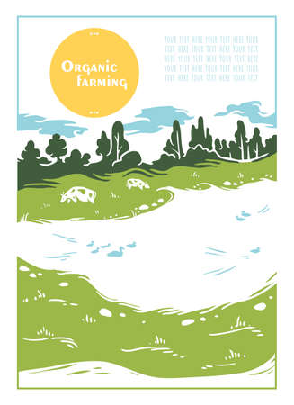 Cows graze on green grass by a lake with ducks on a clear sunny day. A poster with the caption: organic farming. Vector illustration.  イラスト・ベクター素材
