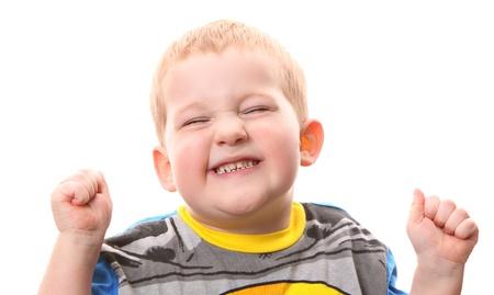 彼の歯を見せて幸せの小さな男の子 写真素材
