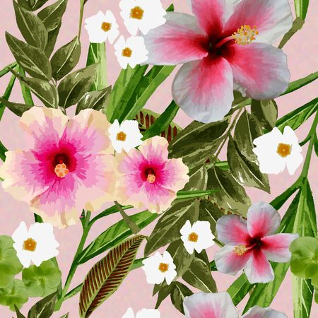 Tropical Dreams - Pink Hibscus on Pink Background