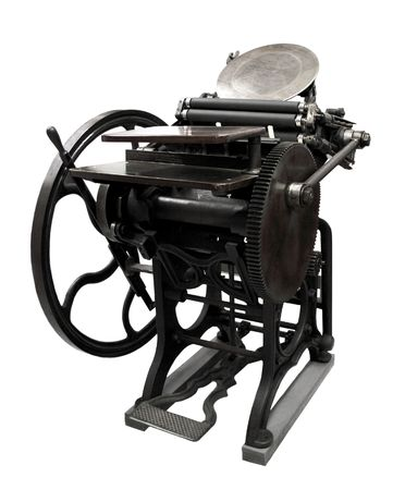 printing press: antique letterpress from 1888