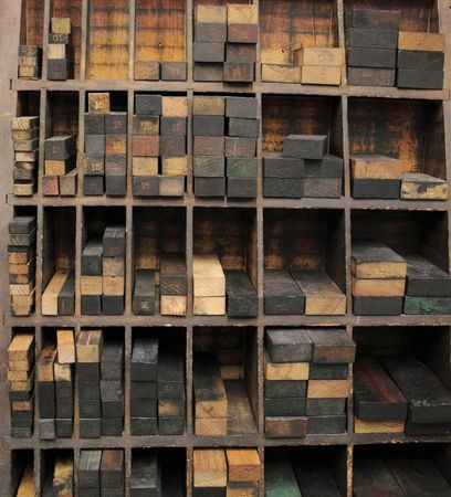 printer's wood furniture in several sizes, organized in compartments Banque d'images