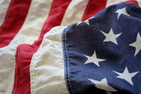 a very old American flag in good condition