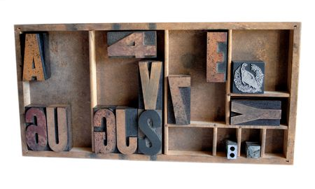 spacing: wood type, metal printers cuts and a metal spacing piece in a type case Stock Photo