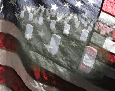 image of a military cemetery superimposed on a backlit American flag