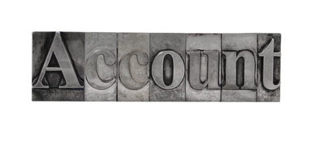 the word 'Account' in old, ink-stained metal letterpress type Stock Photo - 1490374