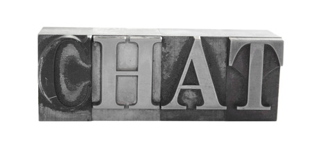 the word 'Chat' in old, ink-stained metal letterpress type Фото со стока - 1490373