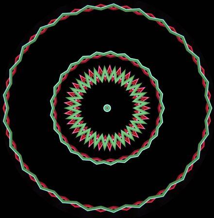 빨강 및 녹색 지그재그 모양의 검정색 원형 이미지