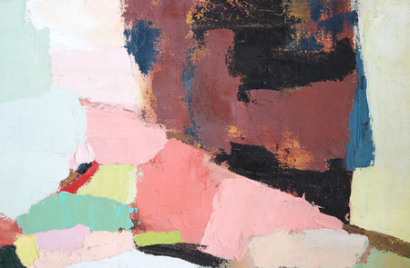 detail of an abstract painting with heavy pigment applied with a palette knife