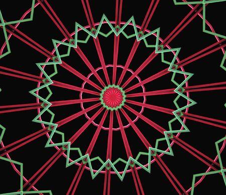 ferriswheel: rosso e verde astratto simile a un incandescente ferris ruote su fondo nero