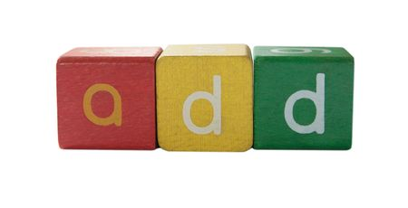 the word add in colorful childrens block letters isolated on white