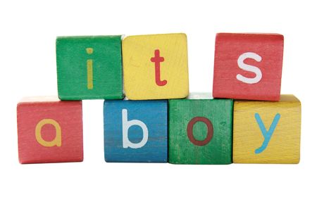 'it's a boy' in colorful children's block letters