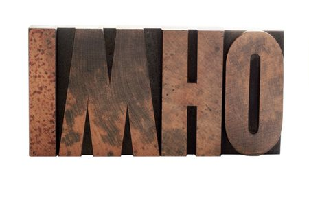 the term imho in old, ink-stained wood letters