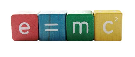 the famous formula in colorful childrens block letters