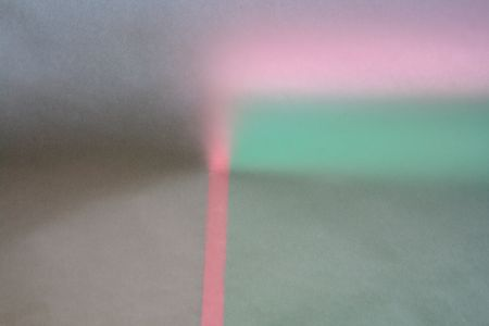 abstract with pink and green bands and tones of gray on textured paper