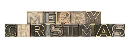 letterpress letters: Merry Christmas in outline letterpress wood letters isolated on white